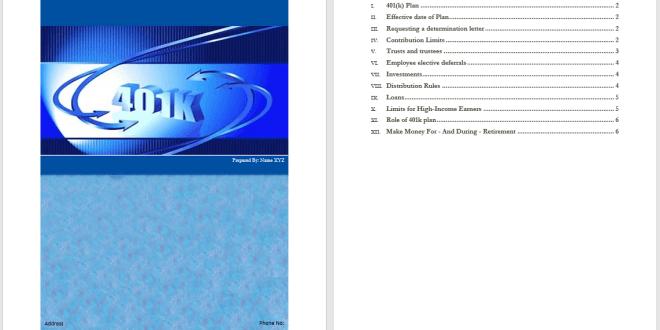 401k Plan Template Microsoft Word Templates