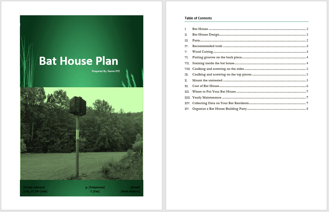 Bat House Plan Template Word Templates For Free Download
