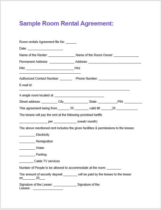 General room rental agreement template: House Rental Agreement Format Doc Rental Agreement Format In Creating One Rental Agreement Every Information Matters Considering That It Is A Legal Document