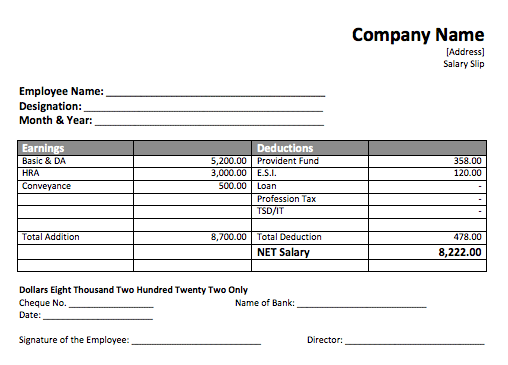 Simple Salary Slip Format For Small Organisation FREE DOWNLOAD