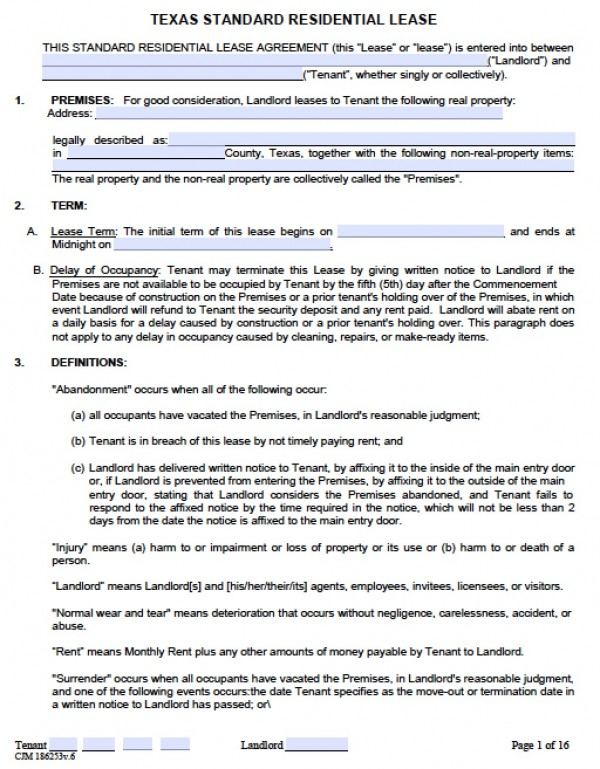 Lease Agreement Templates Word Excel Formats