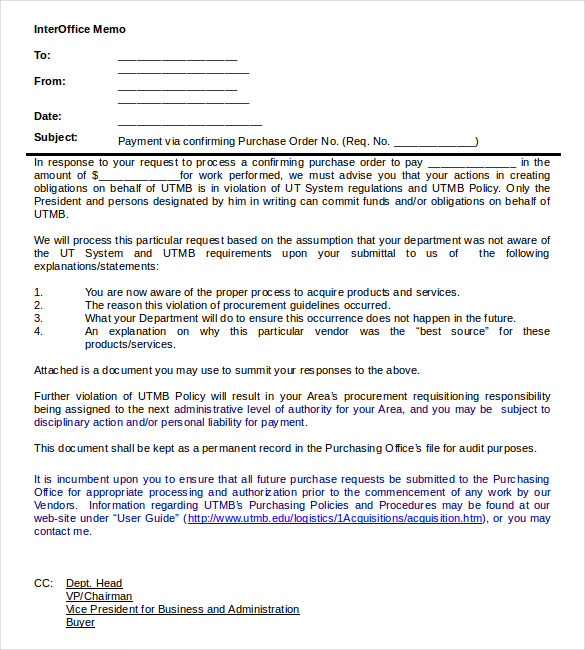 Interoffice Memo Samples PDF