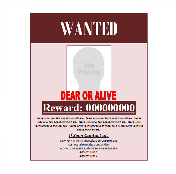Wanted Poster Templates - Word Templates Docs