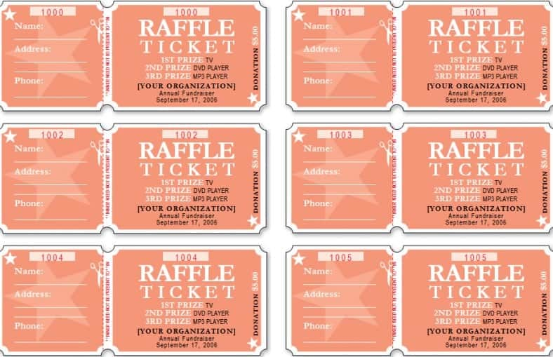 Free Sample Raffle Ticket Templates