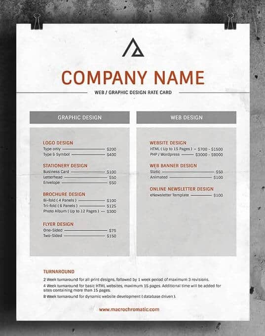 Download Pack Of 25 Rate Card Templates Word Excel Pdfs In 1 Click