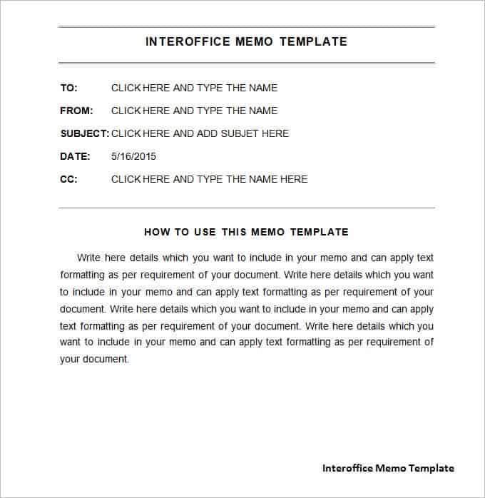 Interoffice Memo Templates - Word Templates Docs