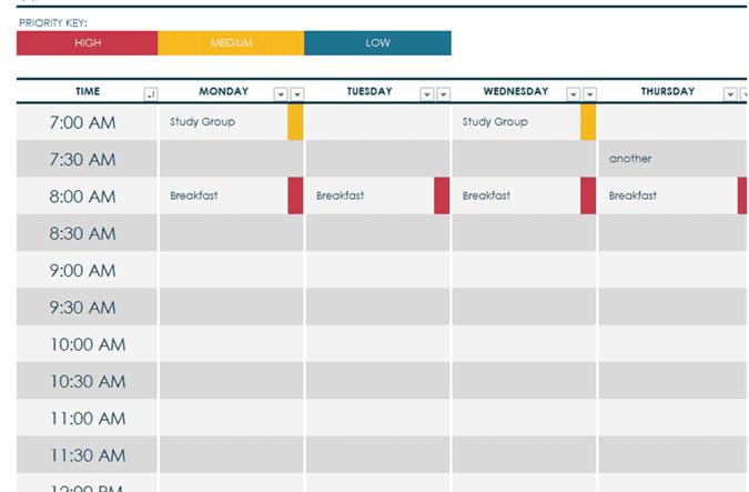 word weekly schedule template