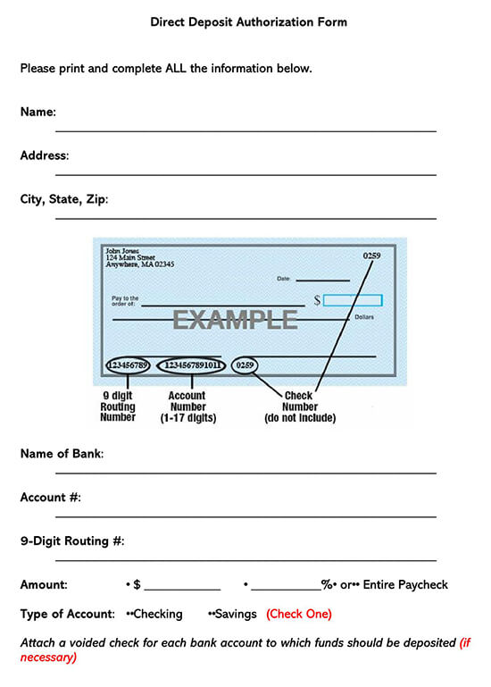 State of indiana for payment shall authorize the direct deposit by electronic funds transfer of all payments by the state to the person. Free Direct Deposit Authorization Forms Templates Word Pdf