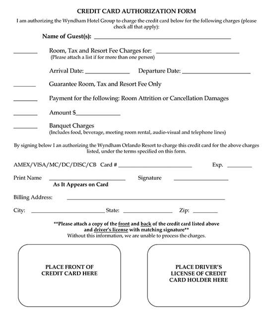 Electronic payment authorization form example. Free Hotel Credit Card Authorization Forms Templates Word Pdf