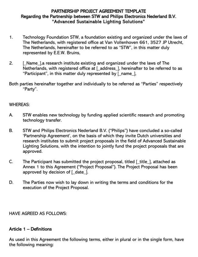 This partnership agreement (the agreement) is made and entered on this day day of month, of year, by and between party 1, on behalf of company, address and party 2, on behalf of company, address.hereafter, both of the above parties shall be referred to collectively as the partners, for the purposes of the agreement. 20 Free Partnership Agreement Templates With Guide Word Pdf