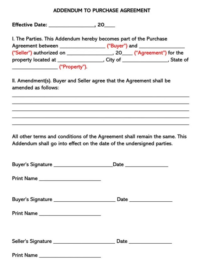 Free Purchase Agreement Addendums (Samples & Templates)