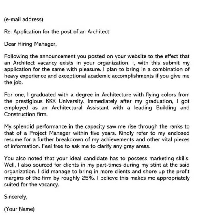 Architect Engineer Cover Letter Sample Letters Email Examples