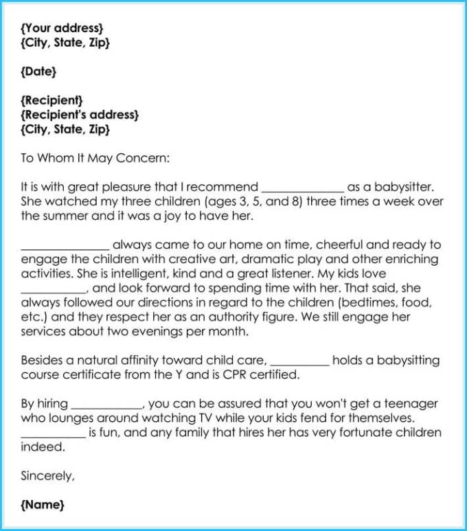 babysitter reference letter best writing guide free samples