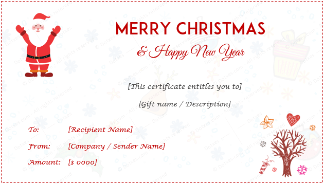 24 Christmas Amp New Year Gift Certificate Templates