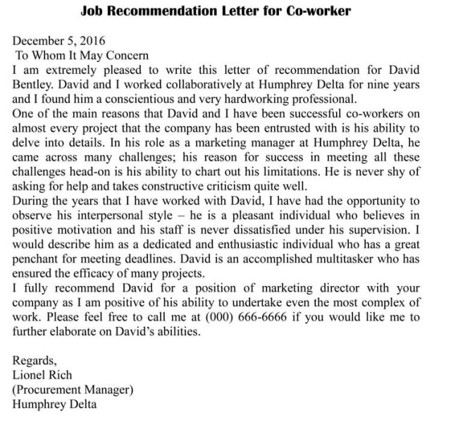 Letter Of Recommendation For Co Worker