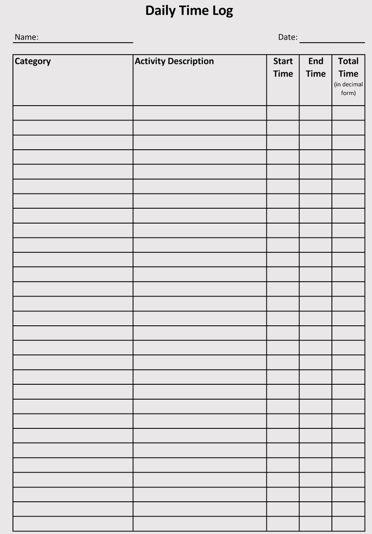 Time Log Sheets Templates For Excel Word Doc