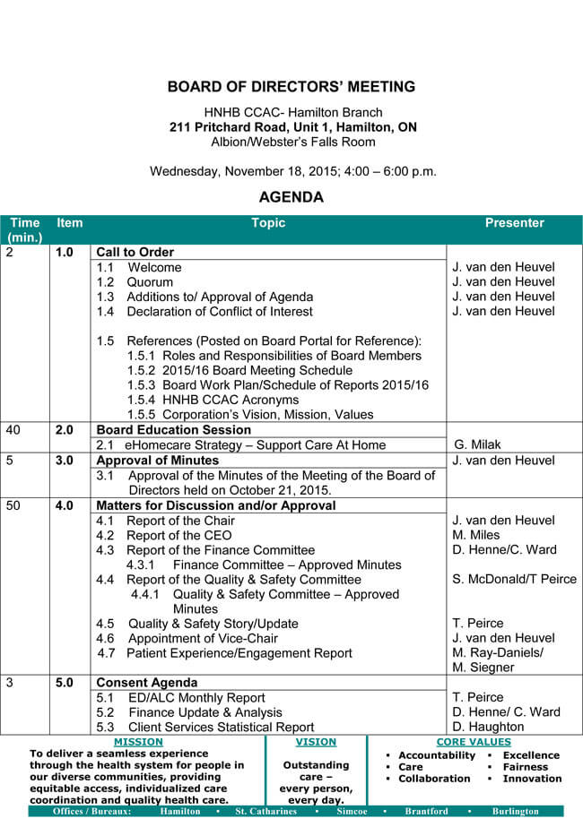 To create the structure of the board meeting agenda template, include the following: Board Meeting Agenda Templates Guidelines And Helpful Tips
