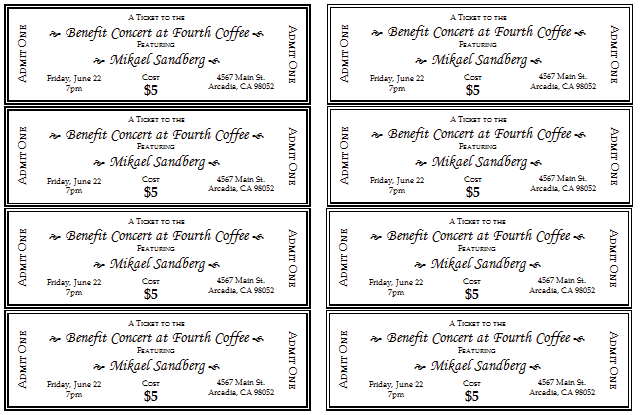Avery Blank Tickets Template Printable