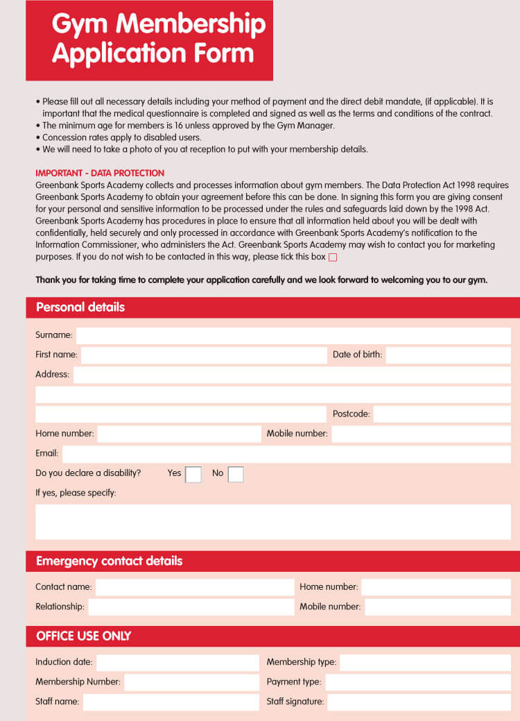 6 Best Examples Of Membership Application Forms With Free Templates