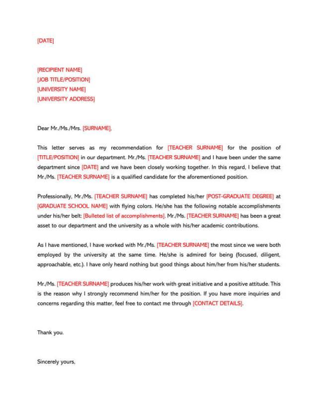Recommendation Letter For A Teacher