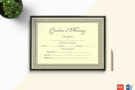 Printable Marriage Certificate Templates   10  Editable Designs     Marriage Certificate Template in Word