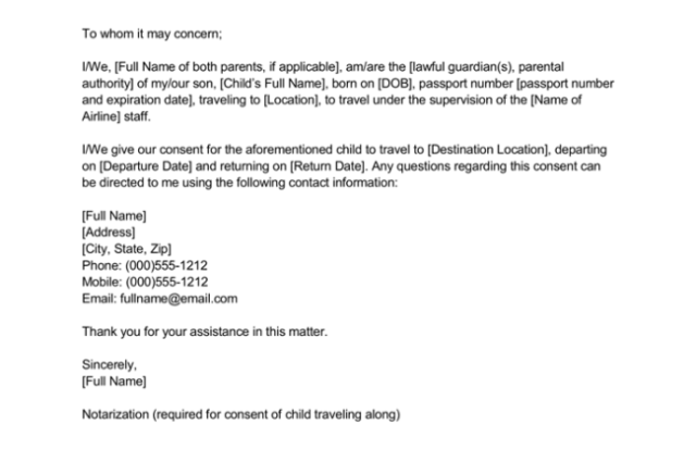 Concern Letter For Child Traveling With One Parent