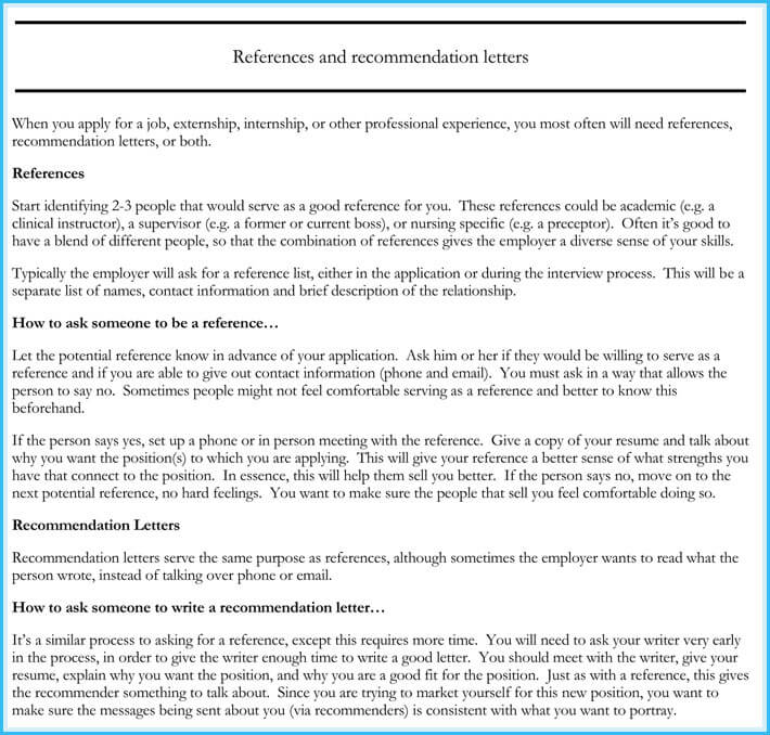 Nursing Reference Recommendation Letters 9 Sample Letters