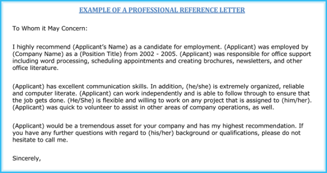Personal Reference Letter 11 Samples