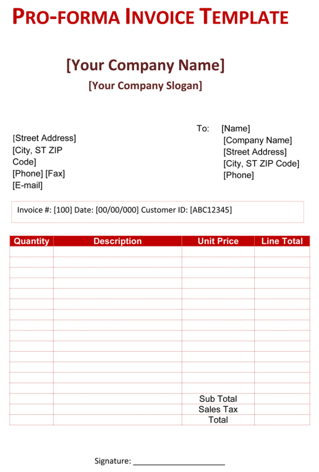 Pro Forma Invoice Template 5 Free Pro Forma Invoices