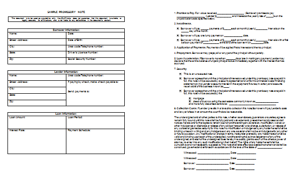 Preview for Promissory Note Template and Sample