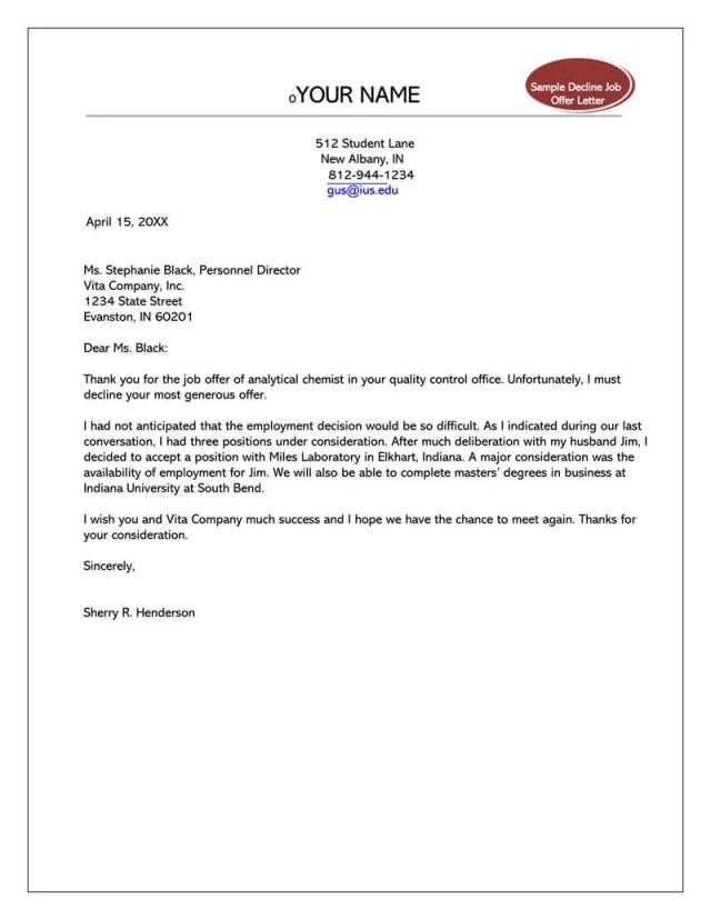 Formal Rejection Letter to Decline Job Offer (Sample Letters & Emails)