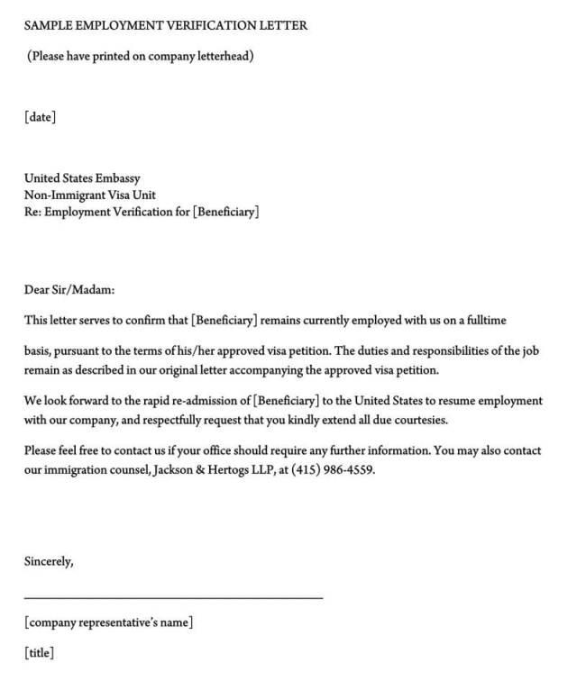 Employment Verification Letter 40