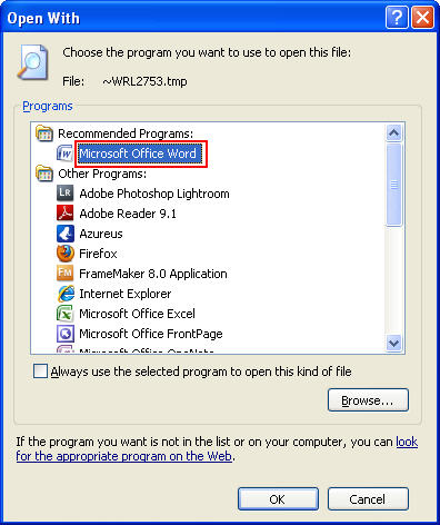 How to recover lost MS Word files - Step 5
