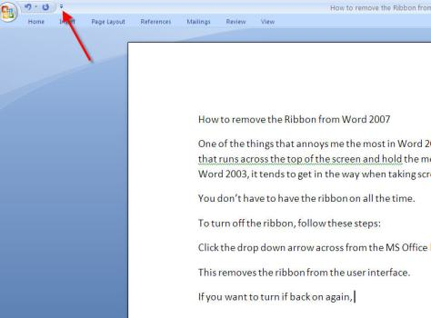Microsoft Word 2007 without the Ribbon