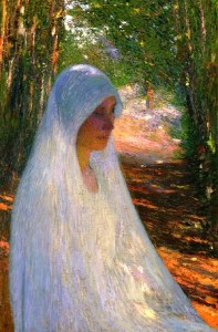 Henri-Martin-xx-Young-Woman-Veiled-in-White-in-a-Forest