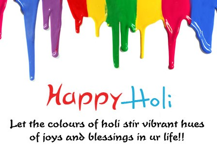 Happy Holi Greetings card with quotes, sms