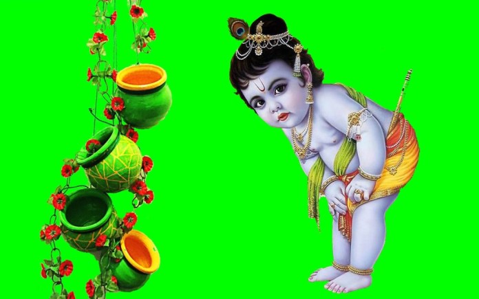 Baby Krishna looking for butter