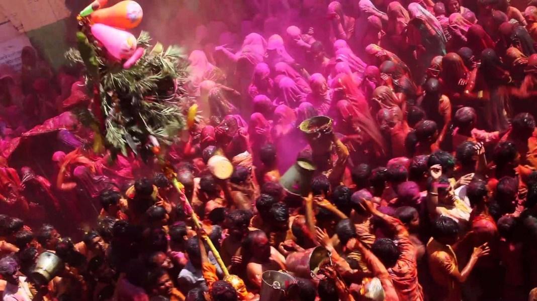 Celebration of colorful holi festival
