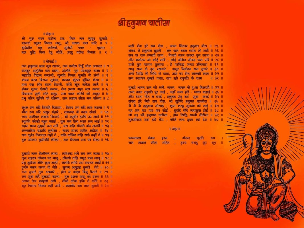 Hanuman Chalisa poster with lord hanuman image