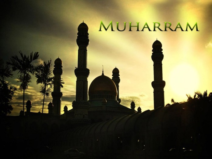 Muharram greeting with mosque image