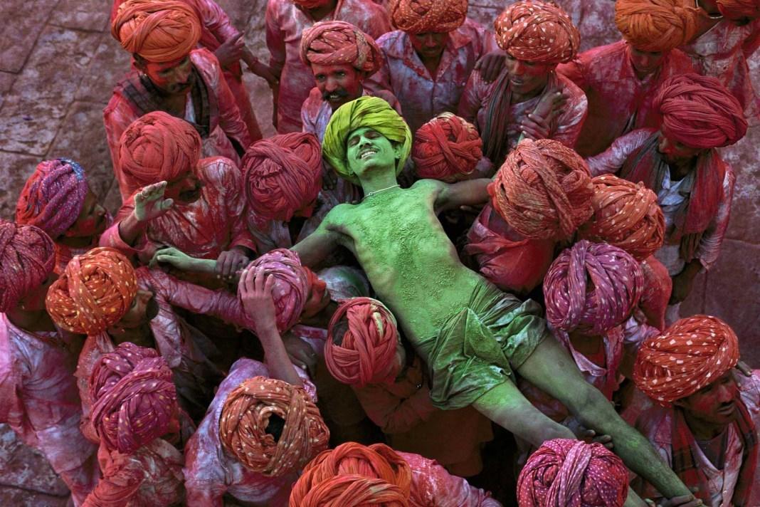 People enjoying on colorful festival holi