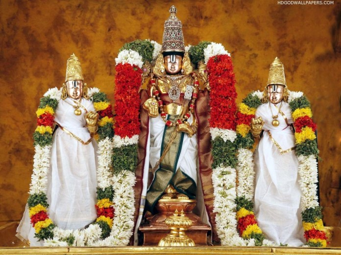 God Venkateswara decorated with floor