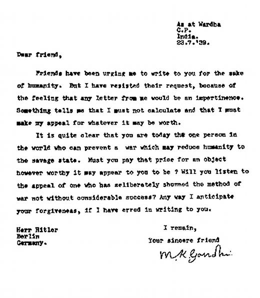 3. A letter from Gandhi to Hitler.