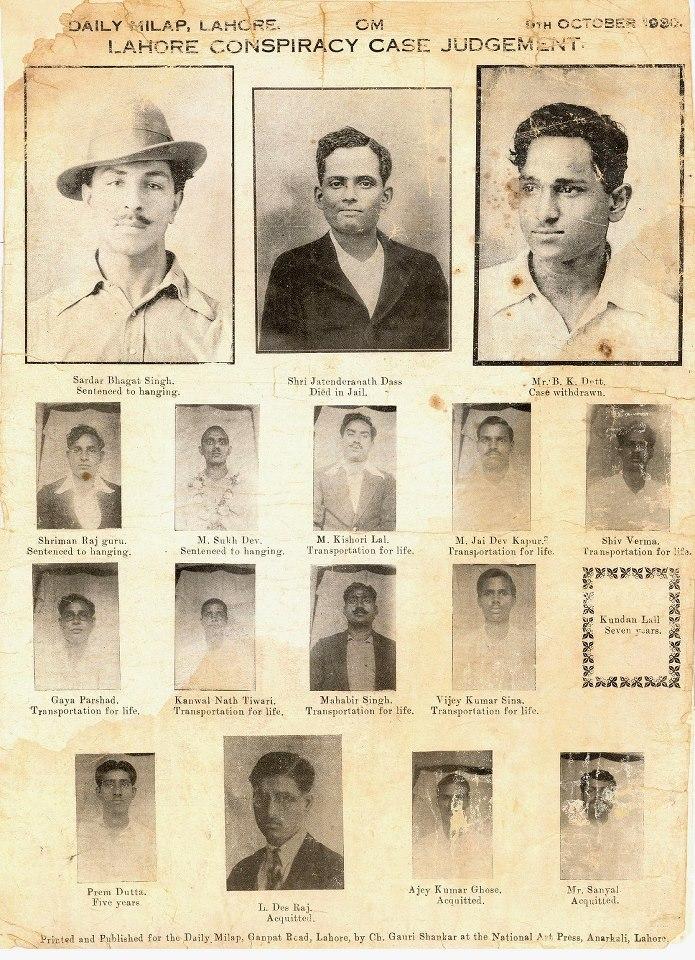 21.Death sentence judgement poster of Bhagat Singh, Sukhdev, Rajguru and others (1930).