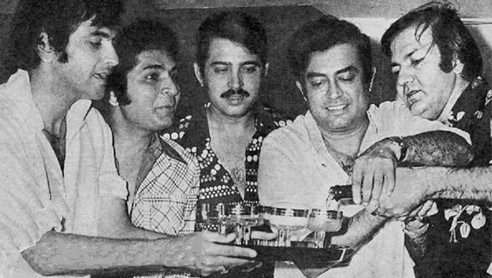 31.Champagne being served during Jeetendra's Birthday Party - late 70's.