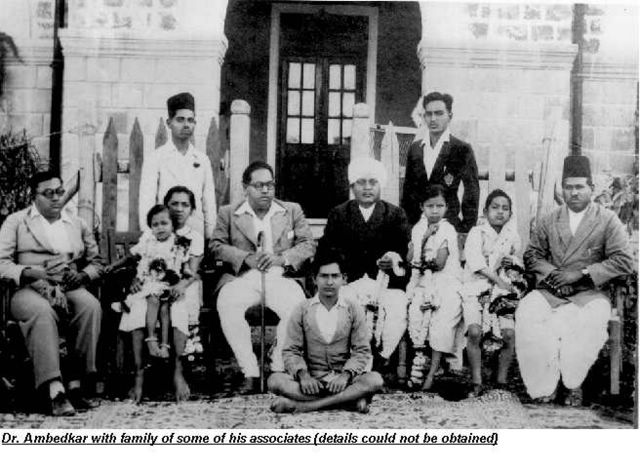 36.Dr. Ambedkar with his family and some of his associates.