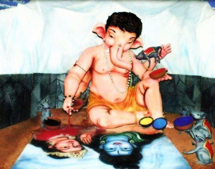 Ganesh painting a portrait of His Parents