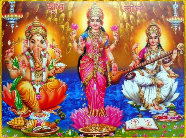 Ganesha Image Lakshmi, Saraswati