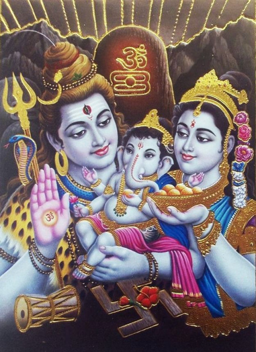 Lord Shiva with Parvati and Baby Ganesha