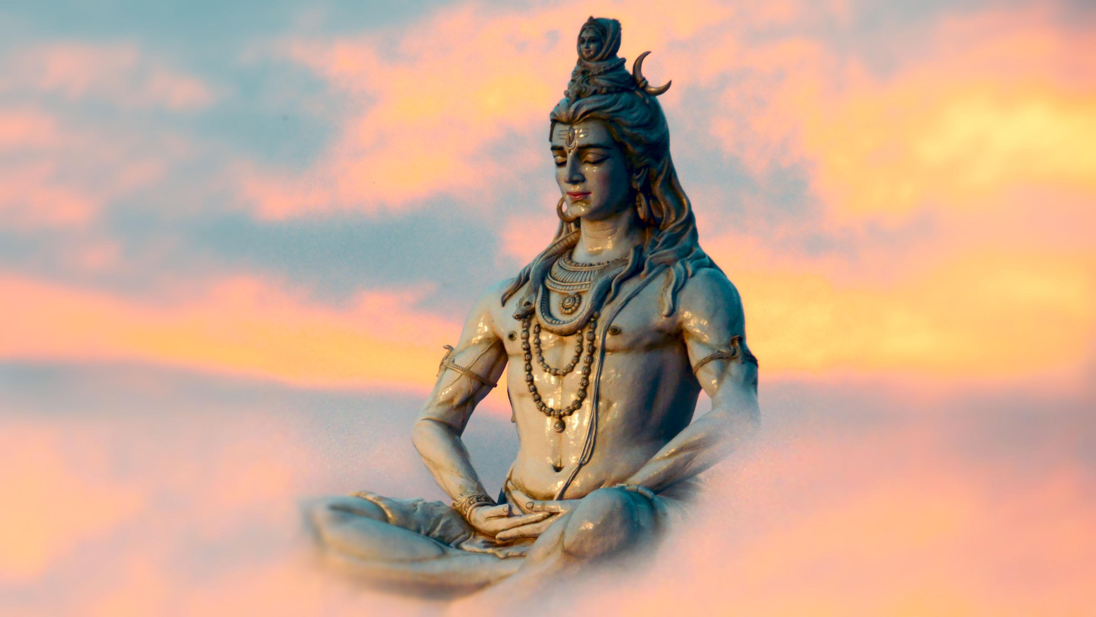 Shiva Yog Statue 4K Wallpaper